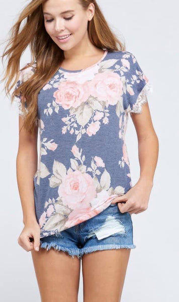 Floral top with fringe sleeves