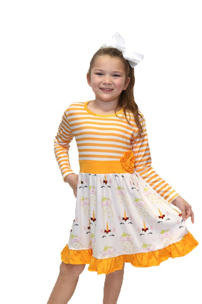 Unicorn Dress w/ White & Yellow Stripes