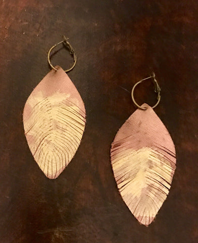 Hand Painted Leather Leaf Earrings