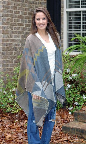 Grey Geometric Print One Size Poncho Wrap