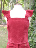 Burgundy Corduroy Crop Top with Ruffle Sleeve