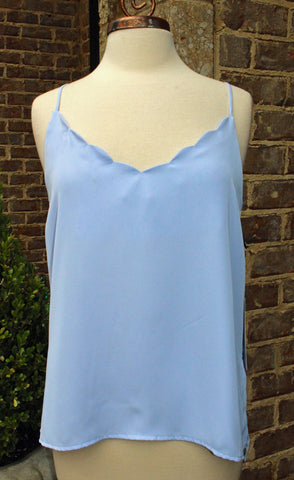 Scalloped V Neck Tank in Pale Blue or White