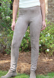 Suede Front Legging in Black and Taupe