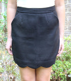 Black or Charcoal Grey Scallop Hem Skirt