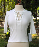 Short Sleeve Ribbed Knit Lace up Front Fitted Top in Black or Ivory