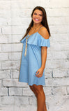 Chambray Off Shoulder Dress