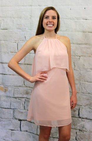 Blush Halter Back Dress