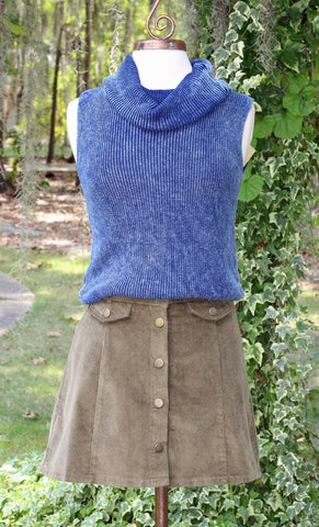 Washed Denim Blue Cowl Neck Sleeveless Sweater
