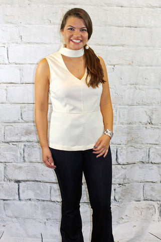 Cream Keyhole Chocker Top