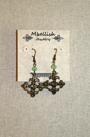 Antique Gold Cross Earrings with Mint Crystal Stone