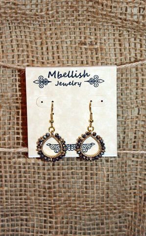 Gold Teardrop Earrings with Blue Beads
