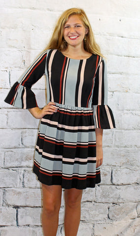 Black Multi Colored Striped 3/4 Sleeve Dress