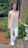 Cream Knit Tank Top With Criss Cross Back