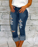 Angry Rabbit Distressed Frayed Hem Cropped Jean