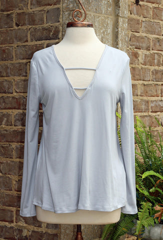 Grey Knit Long Sleeve Top with V Neck Front and Back Detail