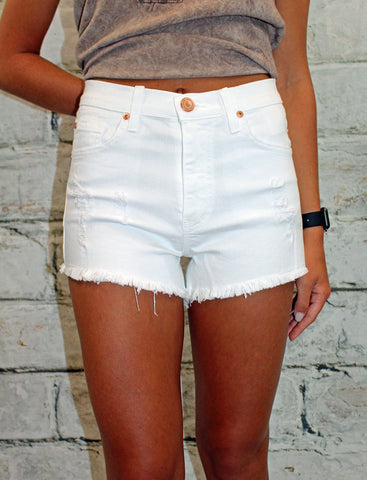 Angry Rabbit White Distressed Denim Shorts