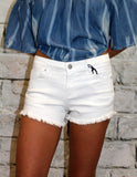 Frayed Hem Denim Short in White or Black