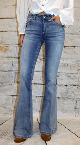Tractr Blu Faded Denim Flare Jean
