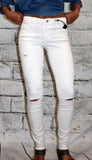 Tractr White Distressed Skinny Jean with Frayed Hem