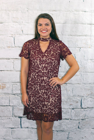 Merlot Lace Mock Neck Dress