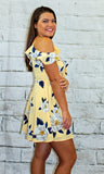Yellow Floral Print Cold Shoulder Dress