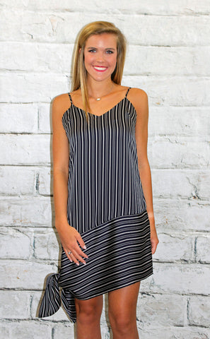 Navy Stripe Dress with Asymmetrical Hem