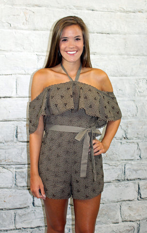 JOA Olive Eyelet Off Shoulder Romper