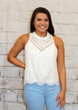 White Eyelet Mock Neck Tank