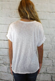 V-Neck Distressed Tee in White or Charcoal