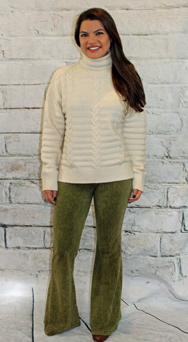 Mineral Washed Bell Bottom Knit Pants in  Dark Moss, Olive or Beige