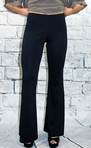 Black Ponte Knit Flare Pants