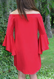 Off Shoulder Flutter Sleeve Dress in Navy or Crimson