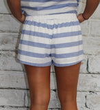 Blue and White Stripe Shorts