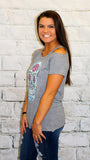 Chaser Grey Cold Shoulder Floral Skull Graphic Tee