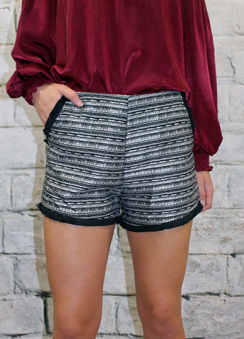 Black Tweed Metallic Thread  Short