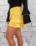 Mustard Suede Side Ruffle Short