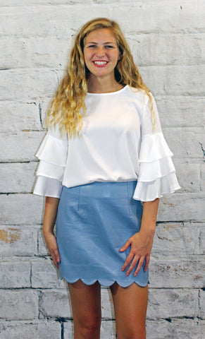 Sky Blue Scalloped Edge Leather Skirt