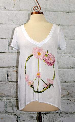 Chaser Vintage Jersey Peace Wreath V Neck Graphic Tee