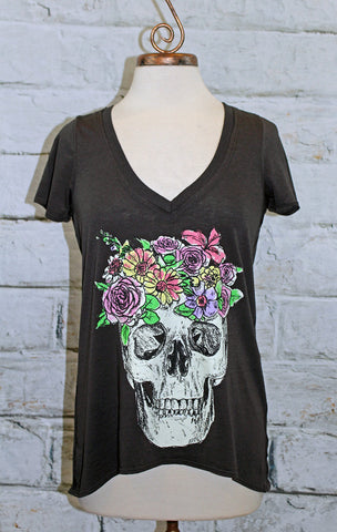 Chaser Washed Black Skull Flower Crown Graphic Tee