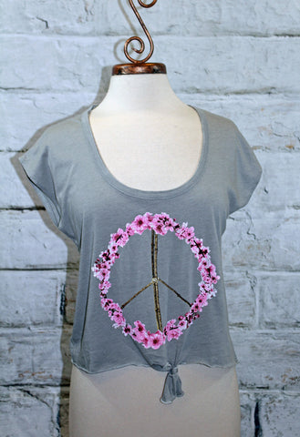 Chaser Grey Tie Front Peace Blossom Graphic Tee