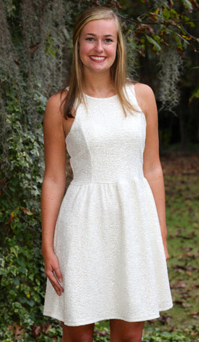 Ivory and Gold Metallic Sleeveless Dress