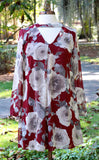 Burgundy Floral Print Long Sleeve Keyhole Neck Dress