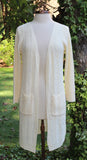 Ivory Pebble Knit Long Cardigan