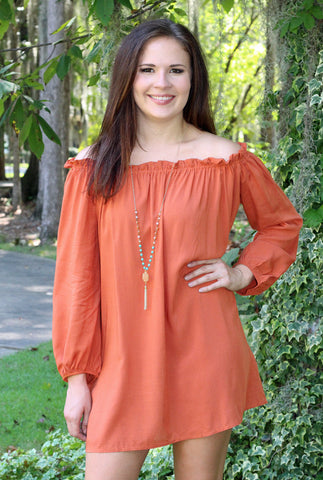 Rust Long Sleeve Off Shoulder Dress/Tunic