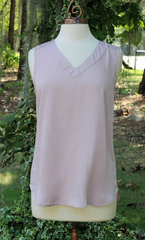 Blush Sleeveless V Neck Top