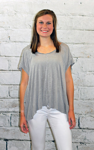 Grey Distressed Flowy Tee