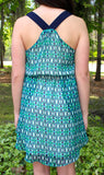 Adelyn Rae Navy and Green Print Racer Back Drawstring Waist Dress