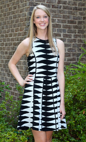 Adelyn Rae Black and White Jacquered Knit Dress
