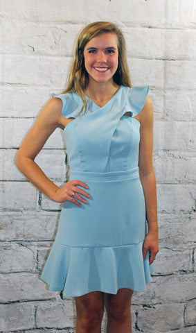 Adelyn Rae Cameo Blue Ruffle Dress
