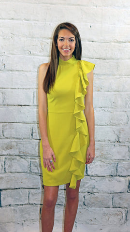 Adelyn Rae Chartreuse Ruffle Front Sheath Dress